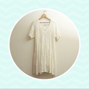 Vintage 90s Oversized Flowy Boho White Lace Dress